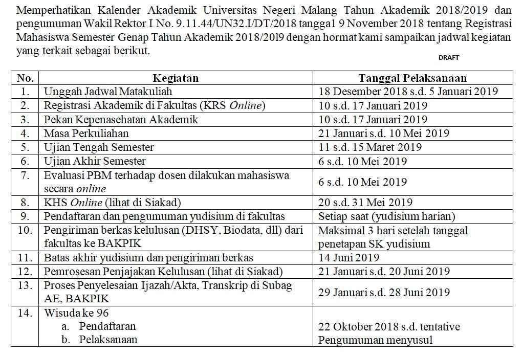 Jadwal akademik genap 2018 2019 um