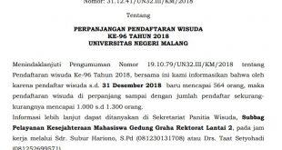 Perpanjangan Pendaftaran Wisuda