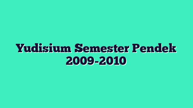 Yudisium Semester Pendek 2009-2010